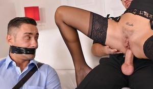 MILF pornstar Jasmine Jae restraining her hubby before drilling another guy