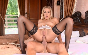 Blonde maid Christen Courtney seduces a boy with anal sex on his mind
