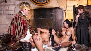 Busty moms Anissa Kate and Jasmine Jae take cumshot in cosplay threesome