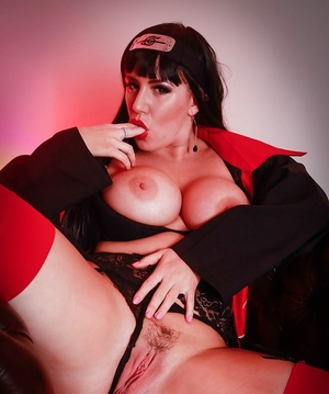 Brunette babe Yuffie Yulan releasing large mounds from under cosplay outfit