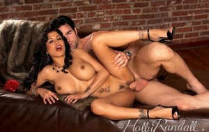 Hot brunette Mariah Milano uncovers her nice tits while seducing her man
