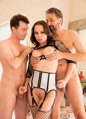 Gorgeous Aidra Fox gets a rough double penetration wearing fishnet stockings
