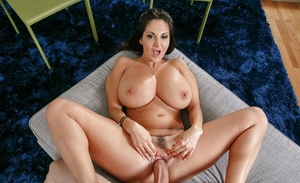 Brunette housewife Ava Addams taking cumshot on huge, oiled MILF tits