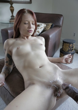 Pale redhead with tattoos Alyssa Branch gets pounded by a big black cock