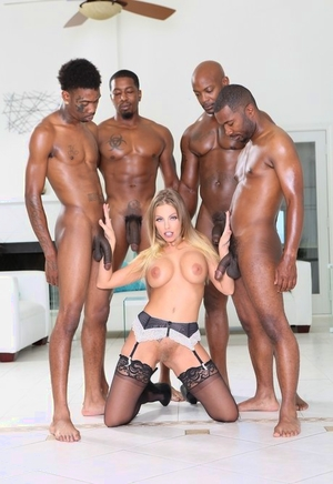 Hot fuckslut Britney Amber in sexy lingerie taking on BBC in interracial gang-bang