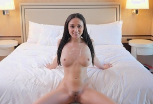 Nude brown-haired Ariana Marie ends up fucking her massagist during a massage