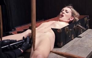Euro blonde Natasha Starr is bound in dungeon for kinky Bondage & Discipline sex games