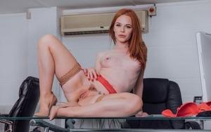 Sexy redhead secretary Ella Hughes penetrates her boss in tan nylons