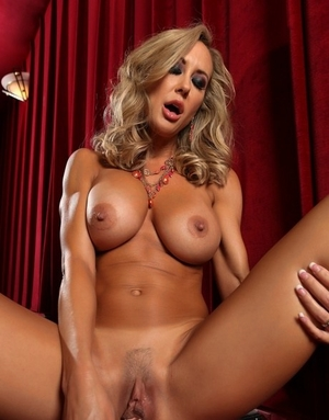 Hot mature MILF Brandi Love flashes naked upskirt & fucktoys pussy on her knees