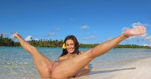 Pierced Gracie Glam on the beach stripping swimsuit to open up bum & labia wide