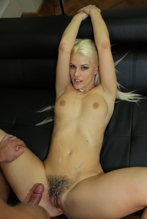 Blonde chick Blanche Bradburry gets on top while having sex with photographer