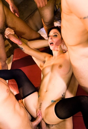 White slut with dyed hair Joanna Angel gets gangbanged before a blowbang