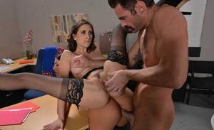 European secretaries August Ames & Ashley Adams do their boss in a threesome