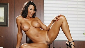 Awesome black-haired Lezley Zen shows off her sexy big boobies