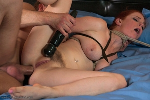 Busty ginger Penny Pax gets corded and ass fucked by master Bill Bailey