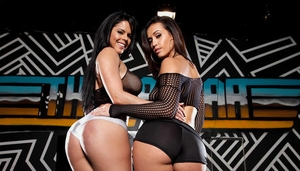 Brunette Latina lesbians Diamond Kitty and Kelsi Monroe flaunt big booties