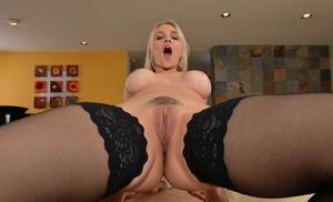 Crazy blondie MILF in black stockings Sarah Vandella opens up legs to get banged
