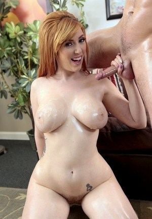 Redhead Lauren Phillips gets her big tits cum glazed after fucking with vigor