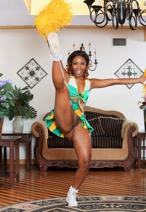 Cheerleader Chanell Heart flashing panty upskirt & showing naked ebony snatch