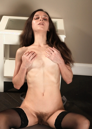 Thin stocking hairy cunt pic - 12