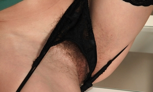 Thin stocking hairy cunt pic - 6