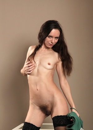 Thin stocking hairy cunt pic - 9