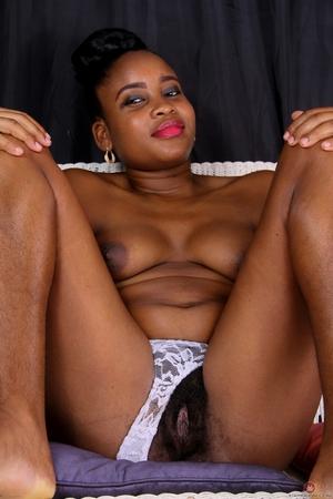 Big ebony hairy bush sex image in pant - 4